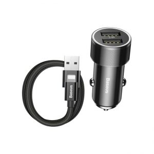 Baseus-Small-Screw-3.4A-Dual-USB-Car-Charger-with-Lightning-Cable-1