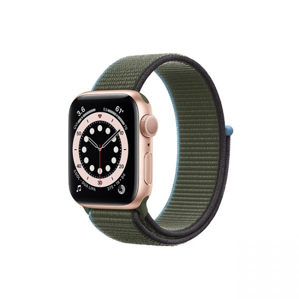 Apple-Watch-Series-6-42MM-Gold-Aluminum-GPS---Sport-Loop-Inverness-Green
