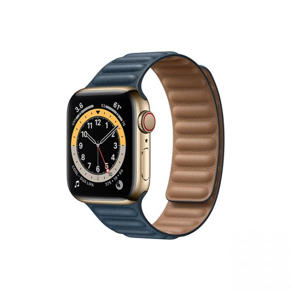 Apple-Watch-Series-6-42MM-Gold-Stainless-Steel-GPS-+-Cellular---Leather-Link-Baltic-Blue