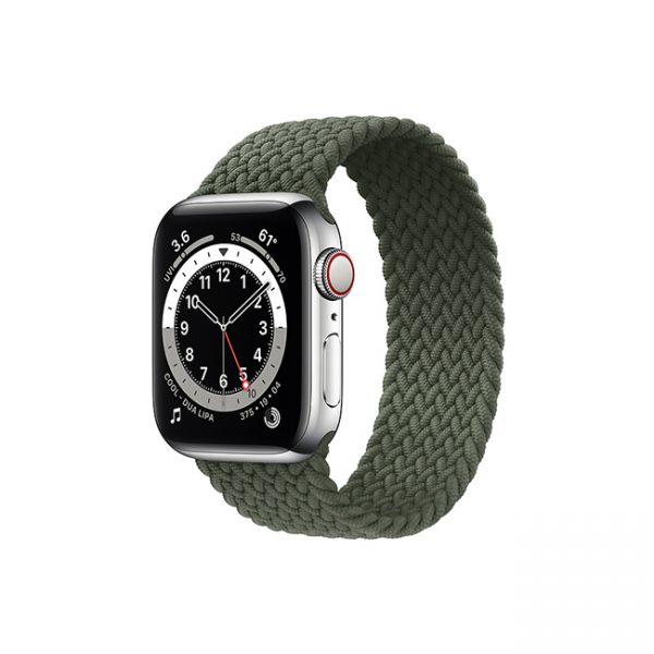 Apple-Watch-Series-6-42MM-Silver-Stainless-Steel-GPS-+-Cellular---Braided-Solo-Loop-Inverness-Green