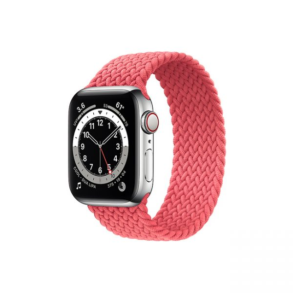 Apple-Watch-Series-6-42MM-Silver-Stainless-Steel-GPS-+-Cellular---Braided-Solo-Loop-Pink-punch