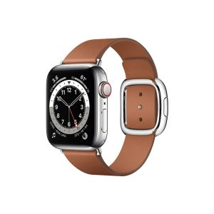 Apple-Watch-Series-6-42MM-Silver-Stainless-Steel-GPS-+-Cellular---Modern-Buckle-Saddle-brown