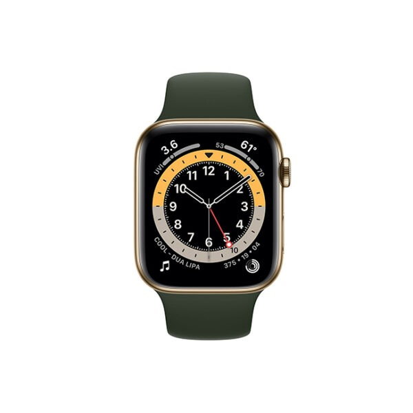 Apple-Watch-Series-6-44MM-Gold-Stainless-Steel-GPS-+-Cellular---Cyprus-Green-Sport-Band-1