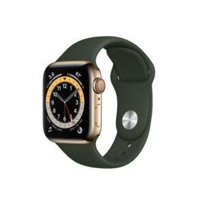 Apple-Watch-Series-6-44MM-Gold-Stainless-Steel-GPS-+-Cellular---Cyprus-Green-Sport-Band